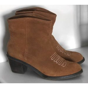 SKETCHERS LEATHER BROWN ANKLE BOOTS SHOES BOOTIES